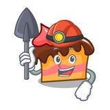 Miner sponge cake mascot cartoon. Vector illustration Stock Photography
