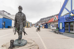 Miner statue in Longyearbyen Stock Photo