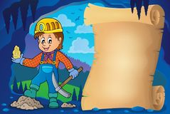 Miner theme parchment 1 stock illustration