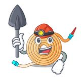 Miner water hose to extinguish the fire. Vector illustration royalty free illustration