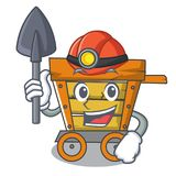 Miner wooden trolley mascot cartoon. Vector illustration royalty free illustration
