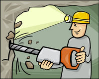 Miner at work cartoon illustration Stock Image