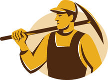 Miner Worker With Pickaxe Retro Stock Photo