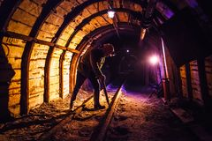 Free Miner Working A Jackhammer In A Coal Mine. Work In A Coal Mine. Portrait Of A Miner. Royalty Free Stock Photo - 156300245