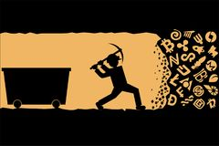Miner working with pickaxe. Cryptocurrency mining concept.  Stock Photos