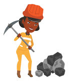 Miner working with pickaxe vector illustration. Royalty Free Stock Photo
