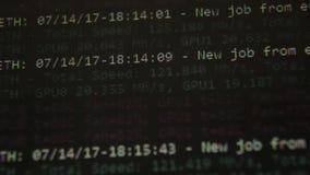 Mineração cripto da moeda, virtual muitos no processo de produção video estoque
