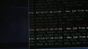 Mineração cripto da moeda, virtual muitos no processo de produção vídeos de arquivo