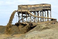Mineração da areia do rio Fotografia de Stock