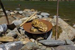 Mineração da pepita de ouro do rio Imagem de Stock