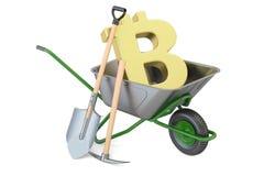 Mineração de Bitcoin, conceito do comércio eletrónico rendição 3d ilustração royalty free