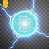 Mineração de Bitcoin, ilustração conceptual Dinheiro de Digitas Projeto de conceito do cryptocurrency Bitcoin do sinal em transpa Imagem de Stock Royalty Free