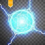 Mineração de Bitcoin, ilustração conceptual Dinheiro de Digitas Projeto de conceito do cryptocurrency Bitcoin do sinal em transpa Imagem de Stock