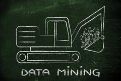 Mineração de dados: escavador engraçado que extrai o código binário foto de stock royalty free