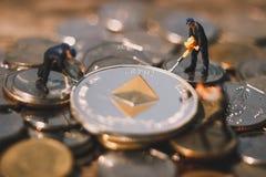 Mineração de Ethereum e mina ETH fotografia de stock royalty free