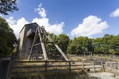 Minera Lead Mine. Old Headframe and Cornish Beam Engine Pumphouse, Minera lead mine Near Wrexham Stock Images
