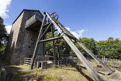 Minera Lead Mine. Old Headframe and Cornish Beam Engine Pumphouse, Minera lead mine Near Wrexham Royalty Free Stock Photo