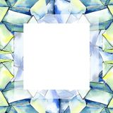 Minerais coloridos da joia da rocha do diamante Grupo da ilustra??o do fundo da aquarela Quadrado do ornamento da beira do quadro ilustração stock