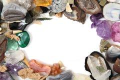 Minerais e frame das gemas Fotos de Stock Royalty Free