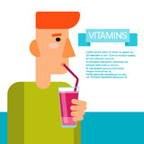 Minerais essentiels d'éléments nutritifs d'éléments chimiques de bouteille de cocktail de vitamines de boissons d'homme Images stock