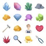 Minerais précieux et icônes réglées de bijoutier dans le style de bande dessinée La grande collection de minerais précieux et le  Photo stock