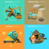 Minerais que minam o quadrado liso de 4 ícones Imagem de Stock