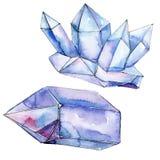 Mineral azul da joia da rocha do diamante Pedra de cristal isolada do polígono geométrico Grupo da ilustração do fundo da aquarel ilustração royalty free