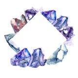 Mineral azul da joia da rocha do diamante Quadrado do ornamento da beira do quadro ilustração do vetor