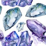 Mineral azul da joia da rocha do diamante Teste padrão sem emenda do fundo ilustração royalty free