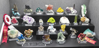 A Mineral Collection at the Tucson Gem and Mineral Show Stock Image