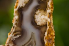 Mineral,colored agate with nacre rock geology.  Royalty Free Stock Photos