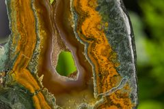 Mineral,colored agate with nacre rock geology.  Stock Photo