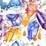 Mineral colorido de la joyería de la roca del diamante Modelo inconsútil del fondo Imagen de archivo