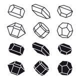 Mineral crystal stone black white symbol Royalty Free Stock Photos