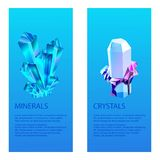 Mineral crystalic precious stones vector illustration. Transparent glass crystals isolated on blue background. Bright. Diamond creative rocks, earth natural royalty free illustration