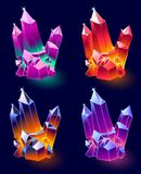 Mineral Crystals Vector. Mineral Crystals, Gems and Diamonds Vector. Magic Set isolated on a dark background. Design for app user interface and score display Royalty Free Stock Photos