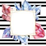 Mineral de cristal do diamante vermelho e azul Quadrado do ornamento da beira do quadro Pedra de cristal do polígono geométrico d ilustração stock