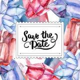 Mineral de cristal do diamante vermelho e azul Salvar a caligrafia do monograma da escrita da data Ornamento da aquarela da beira ilustração stock