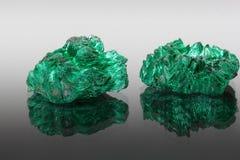 Mineral de duas malaquite Fotografia de Stock Royalty Free