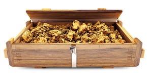 Mineral del oro en una caja de madera Foto de archivo
