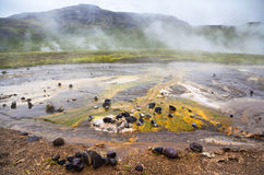 Mineral depositions in geothermal area Geysir. Colorful mineral depositions in geothermal area Geysir, Iceland Royalty Free Stock Photo