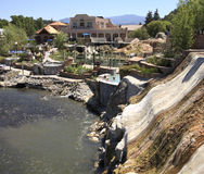 Mineral spring spa resort. Mineral deposits and bathing pools at a natural hot springs resort and spa by the San Juan River in Pagosa Springs, Colorado, America Stock Photography