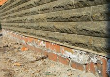 Mineral Efflorescence on the foundation house wall. Efflorescence mean as an indicator of moisture problems in house buildings. White efflorescence salts royalty free stock photos