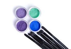 Mineral eye shadows and brushes Stock Photo