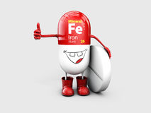 Mineral Fe Ferum shining pill cartoon capsule icon . 3d illustration Royalty Free Stock Images