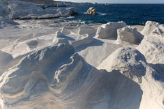 Mineral formations called as Moon landscape on the coast of Milos island Aegean sea Stock Images
