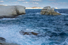 Mineral formations called as Moon landscape on the coast of Milos island Aegean sea Royalty Free Stock Photography