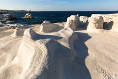 Mineral formations on the coast of Milos island in the Aegean sea Stock Photo