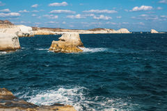 Mineral formations on the coast of Milos island & x28;Moon landscape& x29; Aegean sea. Royalty Free Stock Image