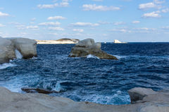 Mineral formations on coastlines Milos island Royalty Free Stock Photos